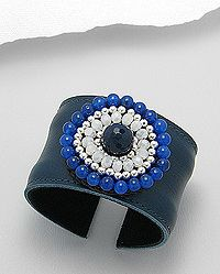 Leather cuff beaded with agate, jade and crystal glass and white metal.