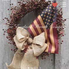 Patriotic Celebration Wreath ~A New England Wreath Company Designer Original~ Elegant Fall Wreaths, Autumn Wreaths, Easter Wreaths, Holiday Wreaths, Holiday Decorations, Christmas Swags, Christmas Door, Whimsical Christmas, Patriotic Wreath