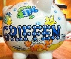 Personalized Piggy Bank Green and Blue Fish by StymiepieStudios, $30.00