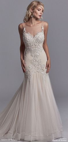Beaded Lace Motifs Accented In Swarovski Crystals Dance Over Dotted Tulle This Y Wedding Dress