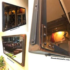 Industrial welded metal mirror frame with rivets. Industrial Floor Lamps, Industrial House, Industrial Interiors, Industrial Style, Industrial Design, Loft Furniture, Metal Furniture, Industrial Furniture, Furniture Ideas