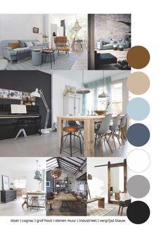 Moodboard Stoer | Cognac | Grof hout | Stenen muur | Industrieel | Vergrijsd blauw