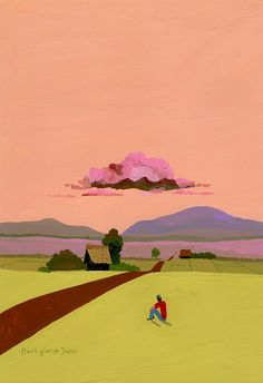 I discovered the beautiful artwork of Hiroyuki Izutsu recently and couldn't resist doing a little colour crush, soooo yum! Art And Illustration, Illustrations Posters, Landscape Art, Landscape Paintings, Art Graphique, Japanese Artists, Beautiful Artwork, Oeuvre D'art, Painting & Drawing
