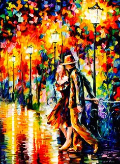 ༻❁༺ ❤️ ༻❁༺ Painting // By Leonid Afremov | 'Tempter' | #Lovers #Passion #Love #Couples #Intimacy #OilPainting ༻❁༺ ❤️ ༻❁༺