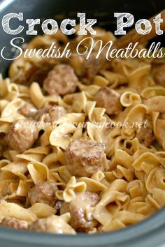 Crock Pot Swedish Meatballs and Noodles, Slow Cooker, Crock Pot, Dinner, Supper, The Country Cook, Country, Cooking, Southern, Egg Noodles, Frozen Meatballs, Family, Kid Friendly