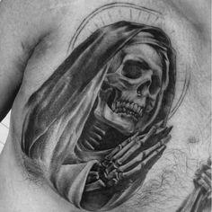 Most Popular Chest Tattoos for Men | CUSTOM TATTOO DESIGN Dark Tattoos For Men, Cross Tattoos For Women, Black And Grey Tattoos, Tattoos For Guys, Angle Tattoo For Men, Skull Rose Tattoos, Skull Girl Tattoo, Head Tattoos, Scary Tattoos