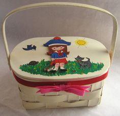 Vintage Joan Walsh Anglund Basket Purse Sewing Basket