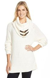 MICHAEL Michael KorsChunky Cotton Blend Sweater with Removable Buckle Tab Cowl Neck