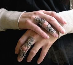 """Armor Ring Byzantine Gothic Flourish Filigree & vintage strass ONE ring"""