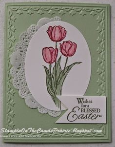 ...still stamping and coloring tulips as my real ones outside still haven't bloomed...       Using the stamp set Blessed Easter , I i...[recipe]