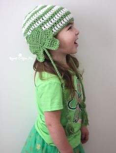 No need to worry about getting pinched this St. Patrick's Day when wearing this festive Crochet Shamrock Earflap Hat! Simply constructed and fun for all ages! Start with a basic striped beanie pattern and then sew on a crochet shamrock onto either side of the hat. A chained tail (or braided tails) looks like the …