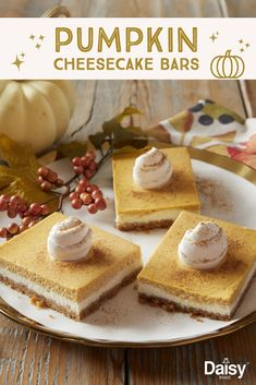 Make these Pumpkin Cheesecake Bars once and you may never go back to pumpkin pie. Pumpkin Cheesecake Bars, Cheesecake Recipes, Dessert Recipes, Dinner Recipes, Just Desserts, Delicious Desserts, Yummy Food, Thanksgiving Desserts, Christmas Desserts