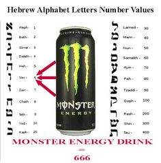 "Monster Energy drink    Imagery: The claw marks are made up of 3 Vavs, or the Hebrew 6 = 666. Slogan is ""Unleash the Beast"". The Beast is a name for either The Antichrist, the False Prophet, or the Devil in the book of Revelation, whose number is 666."