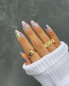 Almond Acrylic Nails, Best Acrylic Nails, Acrylic Nail Designs, Summer Acrylic Nails, Summer Nails, Winter Nails, Spring Nails, Colorful Nail Designs, Funky Nails