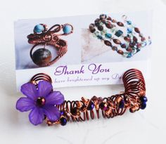 Purple Flower Crystal Wire Wrap Name Card Memo Reminder Display Card Holder