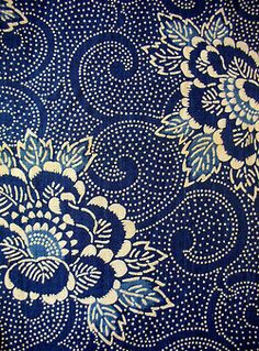 patterns fabric blue navy pattern Stencil textile katazome