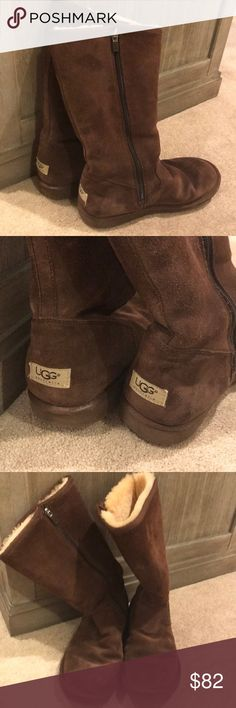 UGG tall boots size 10 Chestnut tall zip-up UGG boots  Great used condition UGG Shoes Winter & Rain Boots