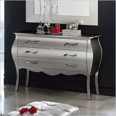 Dupen Lorena Dresser in Silver -  This bedroom collection will create a visual fantasy in your bedroom using traditional shapes in the modern interpretation.    Features: This silver finish bedroom collection combines wood, fabric and metal to lend a special and remarkable elegance. Made in Spain  Specifications: Product Weight: 141lbs Overall Product Dimensions: 34H x 45W x 20D