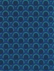 Elegant Blue, Violet, Turquoise Scallops, Mosaic Plume, Timeless Treasures (By Half Yard)