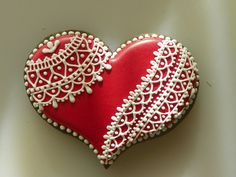 Lacy Heart Sugar Cookie by TheBusyLlama on Etsy