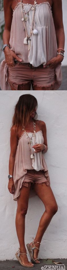 Cute looking boho top with cut-offs