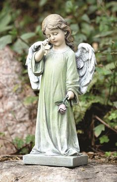 Garden Statue Cherub Angel Little Boy Holding His By SandraLynns | Statues  | Pinterest | Garden Statues, Angel And Angel Art