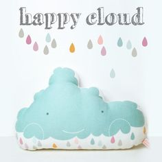 decorative pillow happy cloud for nursery room in por PinkNounou