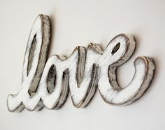 signage wood sign love vintage wedding sign cottage decor sign white from OldNewAgain on Etsy. Saved to Home Decor. Shabby Chic Living Room, Shabby Chic Decor, Rustic Decor, Blanc Shabby Chic, Vintage Wedding Signs, Love Vintage, Vintage Wood, Deco Champetre, Cottage Signs