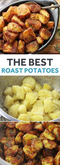 potato recipes These will be greatest roast potatoes youve ever tasted: incredibly crisp and crunchy on the outside, with centers that are creamy and packed with potato flavor. I double-dare you. Potato Dishes, Vegetable Dishes, Food Dishes, Veggie Food, Potato Food, Potato Snacks, Vegetarian Recipes, Cooking Recipes, Healthy Recipes