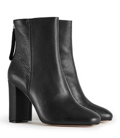 REISS - ODELLE TEXTURED LEATHER ANKLE BOOTS