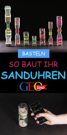 Build hourglasses- Sanduhren bauen We make hourglasses out of old glasses and bottles. You can find the instructions on GEOLINO. Kids Crafts, Diy And Crafts, Arts And Crafts, Art Crafts, Creative Crafts, Diy For Teens, Diy For Kids, Diy Kids Furniture, Martial Arts Styles