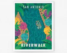 San Antonio Riverwalk Art Print | Etsy Mosaic Maker, Our Adventure Book, San Antonio Riverwalk, Palm Trees Beach, Travel Souvenirs, River Walk, Texas Travel, Travel Posters, Texas