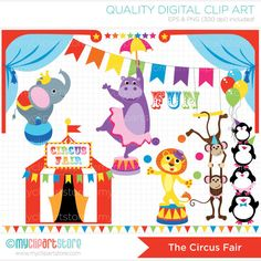 The Animal Circus Clip Art / Digital Clipart - Instant Download on Etsy, $4.00