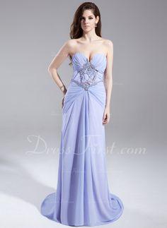 A-Line/Princess Sweetheart Sweep Train Chiffon Prom Dress With Ruffle Beading Split Front (018015903) - DressFirst