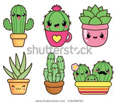 Find Kawaii happy succulents stock vectors and royalty free photos in HD. Explore millions of stock photos, images, illustrations, and vectors in the Shutterstock creative collection. Cute Easy Drawings, Cute Kawaii Drawings, Kawaii Doodles, Cute Doodles, Colorful Drawings, Succulents Drawing, Cactus Drawing, Cactus Art, Griffonnages Kawaii