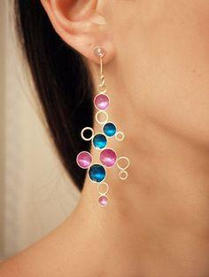 Blue and Purple Resin Earrings  Sterling Silver by Jewellietta, €83.00