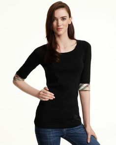 Burberry Brit Three-Quarter Check Sleeve Top   Bloomingdale's