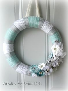 Tiffany Blue, White, and Gray Yarn Wreath with sparkle and bling, winter wreath.via Etsy.