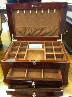 Bubinga Wood Jewelry Box 2 drawers plenty of ring slots and