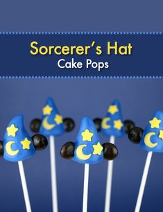 I made a couple of new cake pop designs recently. Both for Disney, both blue. Here are some Cake Pop Sorcerer's Hats inspired by the 1940 Disney classic animated film, Fantas Mickey Cake Pops, Mickey Mouse Cupcakes, Mickey Cakes, Minnie Cake, Mickey Birthday, Mickey Party, Birthday Ideas, Cake Pop Designs, Hat Cake