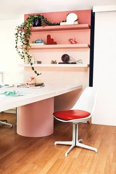 1098 Office, Kitchen & Breakfast Room Design Ideas for 2019 – domino - IKEA Ikea Lack Hack, Ikea Lack Shelves, Lack Shelf, Ikea Floating Shelves, Pink Shelves, Ikea Linnmon, Ikea Desk, Best Ikea, Funky Home Decor