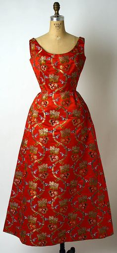 Adele Simpson Silk and Metal Evening Dress