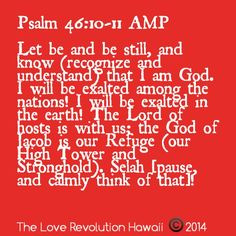 Psalm 46:10-11 AMP  Let be and be still, and know (recognize and understand) that I am God. I will be exalted among the nations! I will be exalted in the earth! The Lord of hosts is with us; the God of Jacob is our Refuge (our High Tower and Stronghold). Selah [pause, and calmly think of that]!