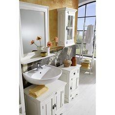 Toledo Badzimmer SET: Möbelserie im Antik Look - Die 5-teilige Möbelserie für das Badezimmer wird aus massivem Mangoholz gefertigt, das mit MDF-Platte kombiniert ist.