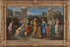 NICOLAS POUSSIN: Eliezer and Rebecca at the Well, 1648, Oil on canvas, H. 1.18 m; W: 1.99 m. Louvre, Paris. This Biblical subject taken from Genesis prefigures the Annunciation: Eliezer, a servant of Abraham, was given the task of finding a wife for his son Isaac, and the picture shows the moment when he meets Rebecca drawing water from a well for her father's herds to drink. LINK to Louvre for more.
