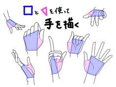 四角と三角を使って手を描く。 [1]