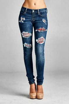 Skinny ripped denim with plaid contrast. Jeans are true to size with a bit of stretch.