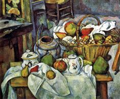 Paul Cézanne-still life with fruit basket.
