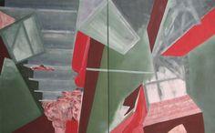'Diptych The Horror House' (Tweeluik Het Griezelhuis') -   Oil on canvas (Olieverf op doek) -   63.00 in x 39.40 in (160 cm x 100 cm) -   Mar 5, 2013 (5 maart 2013) -   http://cobalus-schilderingen.blogspot.be/2013/03/112-zon-thuisatelier-schilderingen-22-23.html