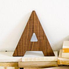Walnut Wood Letter A Wall Decor. $28.00, via Etsy.